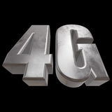 3D metal 4G icon on black. Metal 4G icon on black background. 3D render letters Royalty Free Stock Images