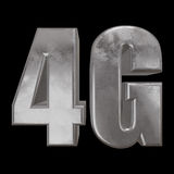 3D metal 4G icon on black. Metal 4G icon on black background. 3D render letters Royalty Free Stock Photo