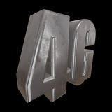 3D metal 4G icon on black. Metal 4G icon on black background. 3D render letters vector illustration