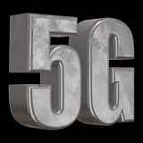 3D metal 5G icon on black. Metal 5G icon on black background. 3D render letters Stock Image