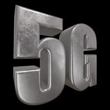 3D metal 5G icon on black. Metal 5G icon on black background. 3D render letters Royalty Free Stock Image