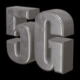 3D metal 5G icon on black. Metal 5G icon on black background. 3D render letters Stock Photography
