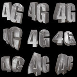 3D metal 4G icon on black. Metal 4G icon on black background. 3D render letters Royalty Free Stock Photography