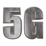 3D metal 5G icon on white. Metal 5G icon on white background. 3D render letters Stock Images