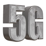 3D metal 5G icon on white Royalty Free Stock Photos