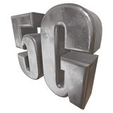 3D metal 5G icon on white. Metal 5G icon on white background. 3D render letters Royalty Free Stock Image