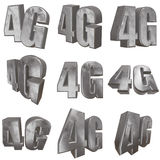 3D metal 4G icon on white. Metal 4G icon on white background. 3D render letters stock illustration