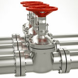3d metal gas pipe line valves Royalty Free Stock Photography