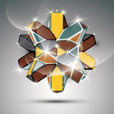 3D metal glossy kaleidoscope complicated object. Vector festive. Complex geometric illustration - eps10 shiny facet gemstone Royalty Free Stock Images