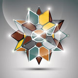 3D metal glossy kaleidoscope complicated object. Vector festive complex geometric illustration - eps10 shiny facet gemstone Royalty Free Stock Photo