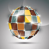 3D metal gold futuristic globe created from geometric element. Stock Photos