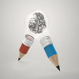 3d metal human brain inside pencil light bulb. As concept Stock Photography