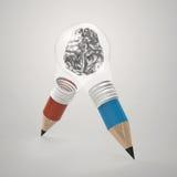 3d metal human brain inside pencil light bulb Stock Photography