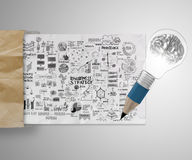 3d metal human brain inside pencil light bulb Stock Photo