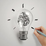 3d metal human brain in a light bulb. Hand with 3d metal human brain in a light bulb as creative concept Stock Photos