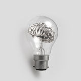 3d metal human brain in a lightbulb. As creative concep Royalty Free Stock Photos