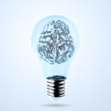 3d metal human brain in a lightbulb. As creative concept Royalty Free Stock Image