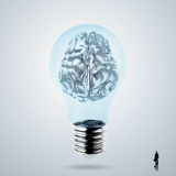 3d metal human brain in a lightbulb Royalty Free Stock Photo