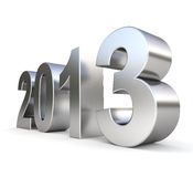 3d metal new year 2013. On white background Royalty Free Stock Photo