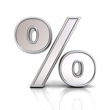 3D metal percent or % sign isolated over white background Stock Photo