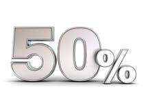 3D metal pięćdziesiąt procentów lub specjalnej oferty 50% dyskontowej etykietka Fotografia Royalty Free