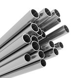3d Metal pipes. 3d render of a variety of metal pipes Stock Photos