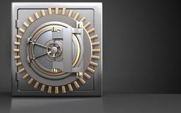 3d metal safe bank door. 3d illustration of metal safe with bank door over black background Royalty Free Stock Photos