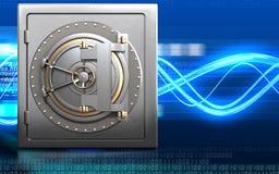 3d metal safe bank door. 3d illustration of metal safe with bank door over digital waves background Stock Photos