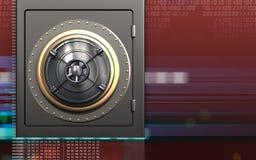 3d metal safe closed bank door. 3d illustration of metal safe with closed bank door over digital red background Stock Images
