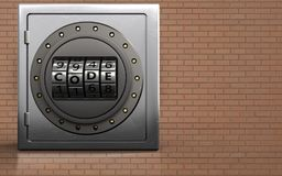 3d metal safe code dial. 3d illustration of metal safe with code dial over bricks wall background Royalty Free Stock Image