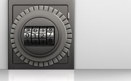 3d metal safe code dial. 3d illustration of metal safe with code dial over white background Stock Photography