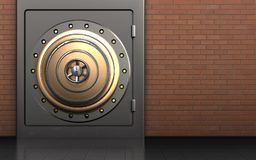 3d metal safe golden vault door. 3d illustration of metal safe with golden vault door over red bricks background Stock Photography