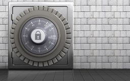 3d metal safe metal safe. 3d illustration of metal safe with combination lock over white stones background Stock Photo