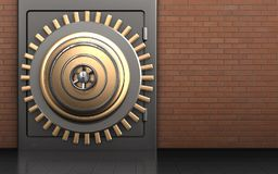 3d metal safe safe. 3d illustration of metal safe with golden vault door over red bricks background Royalty Free Stock Images