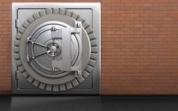 3d metal safe metal safe. 3d illustration of metal safe with steel bank door over red bricks background Stock Photo