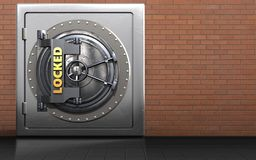 3d metal safe locked vault door. 3d illustration of metal safe with locked vault door over red bricks background Royalty Free Stock Photo
