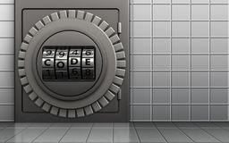 3d metal safe metal safe. 3d illustration of metal safe with code dial over white wall background Stock Photo