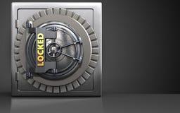 3d metal safe metal safe. 3d illustration of metal safe with locked vault door over black background Royalty Free Stock Photography