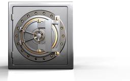 3d metal safe metal safe. 3d illustration of metal safe with bank door over white background Stock Photos