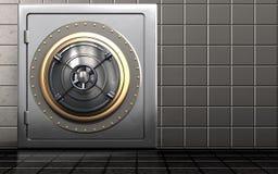 3d metal safe metal safe. 3d illustration of metal safe with closed bank door over steel wall background Stock Image