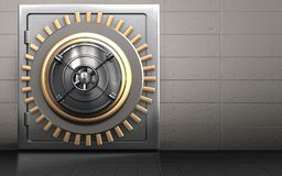 3d metal safe safe. 3d illustration of metal safe with closed bank door over iron wall background Stock Images