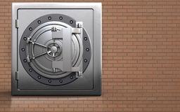 3d metal safe safe. 3d illustration of metal safe with steel bank door over bricks wall background Stock Photography