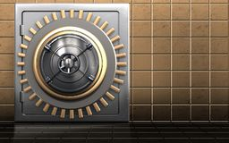 3d metal safe safe. 3d illustration of metal safe with closed bank door over golden wall background Stock Photography