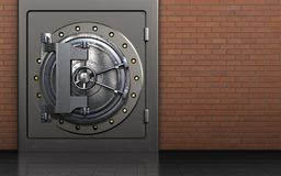 3d metal safe safe. 3d illustration of metal safe with vault door over red bricks background Royalty Free Stock Images