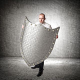 3d metal shield Stock Photography