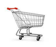 3d metal shopping cart. On the isolated white background Royalty Free Stock Photos