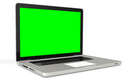 3d metal silver office notebook with green screen Stock Photography