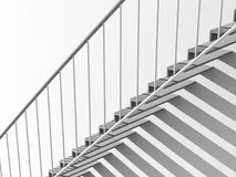 3d metal stairs with shadow over white wall. Contemporary architecture background, metal stairs with shadow pattern over white blank wall, 3d render illustration Royalty Free Stock Images