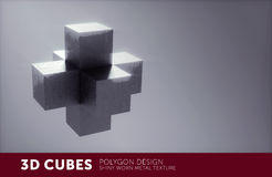 3D metal texture cube structure Stock Image