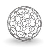 3d metal wireframe ball over white background with shadow. 3D rendering Royalty Free Stock Photo